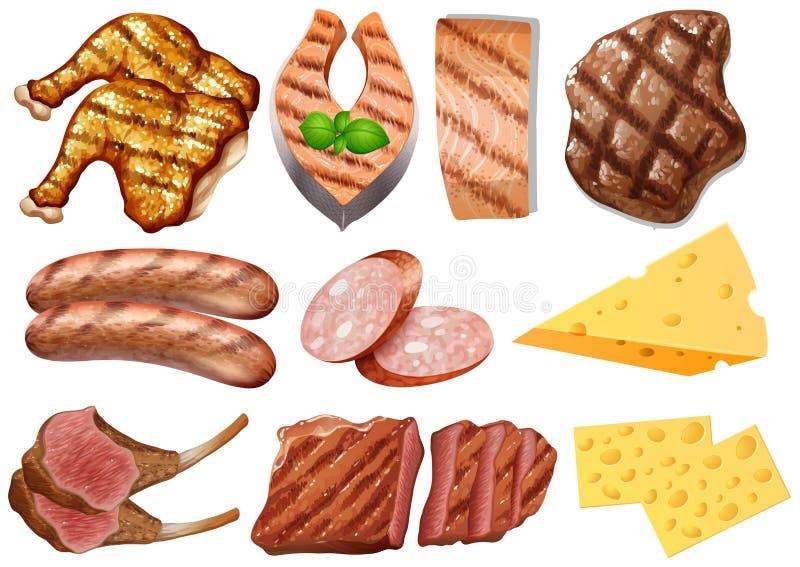 Set Proteinowy jedzenie royalty ilustracja
