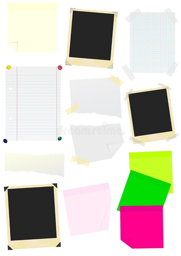 Set Protokoll-Steuerknüppel, Papiere und Foto-Felder stock abbildung
