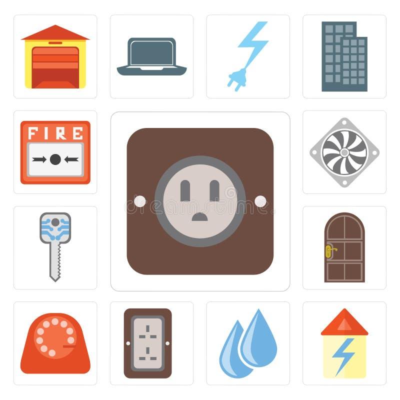 Set prymka, dom, woda, tarcza, drzwi, Mądrze klucz, Cooler, Pożarniczy al royalty ilustracja
