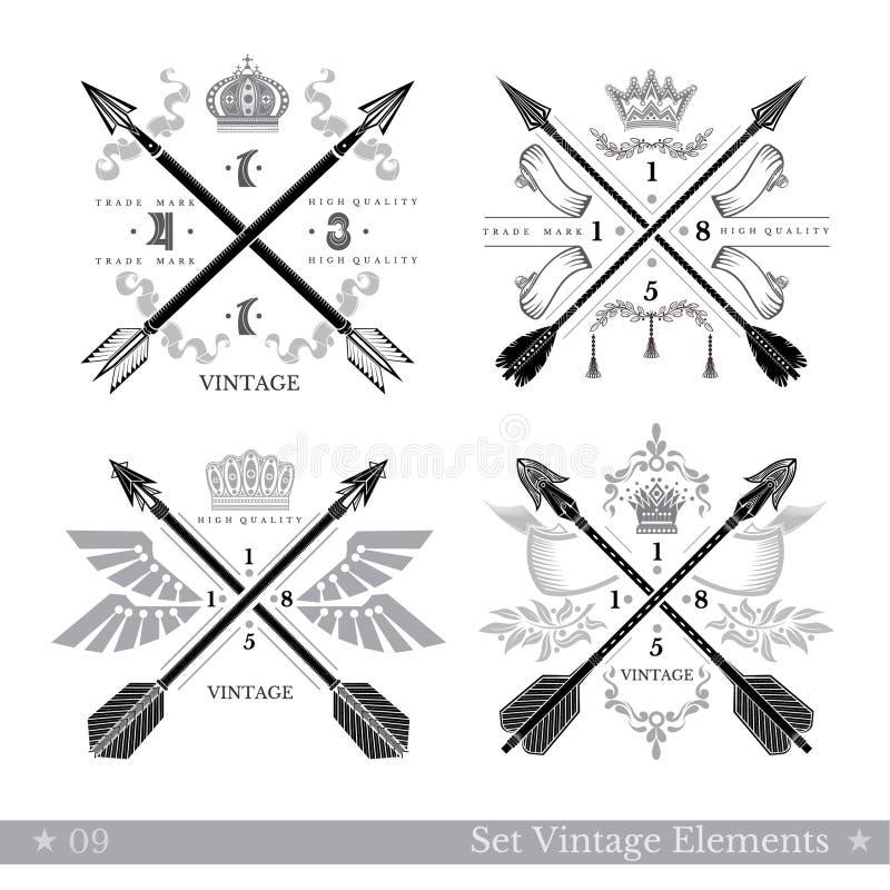 Set przecinające strzała z dekoracyjnym elementem Modnisia rocznika stylu szablony dla biznesu, etykietki, logowie, tożsamość, od royalty ilustracja