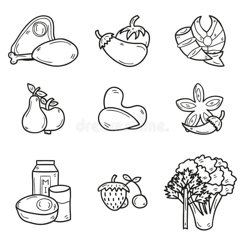 Set przedmioty w ręka rysującym konturu stylu dalej royalty ilustracja