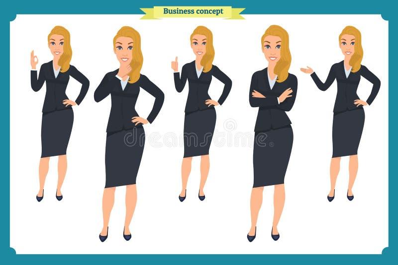 Set przedstawia w różnych pozach młody bizneswoman Ludzie charakterów _ Odizolowywający na bielu Mieszkanie styl Biznes ilustracji