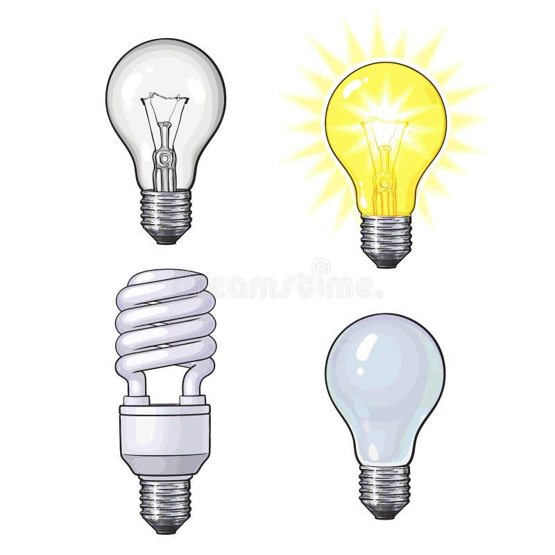 Set przejrzysta, nieprzezroczysta, rozjarzona i energooszczędna żarówka, ilustracja wektor