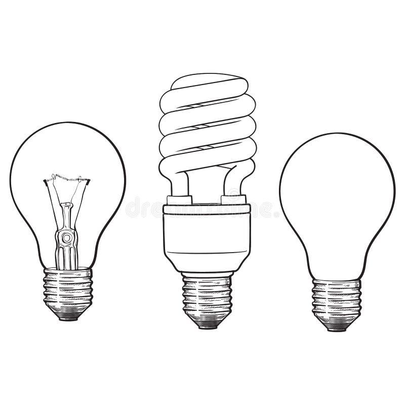 Set przejrzysta, nieprzezroczysta, rozjarzona i energooszczędna żarówka, royalty ilustracja