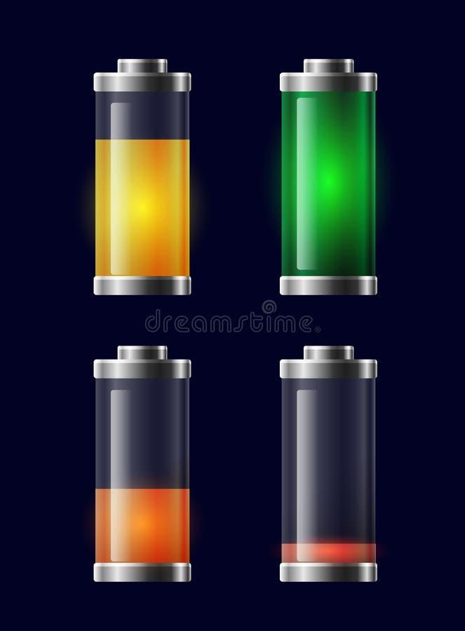 Set przejrzysta różna ładuje bateria ilustracji