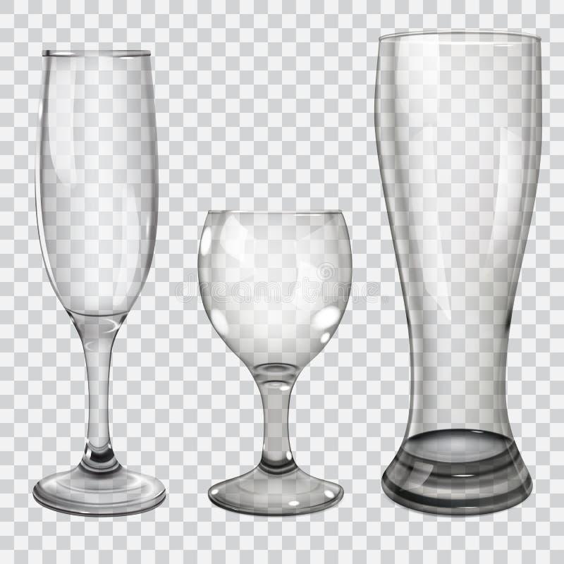 Set przejrzyste szklane czara ilustracji