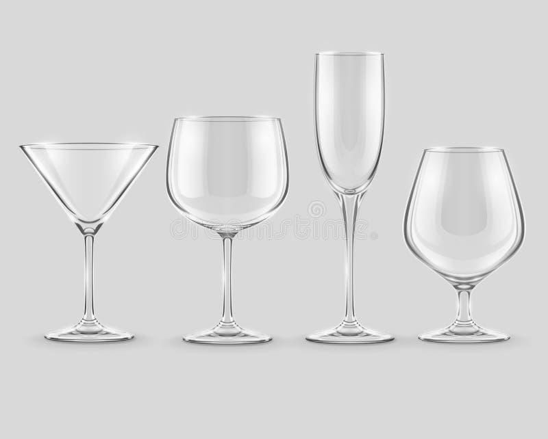 Set przejrzyste szklane czara wektorowe royalty ilustracja