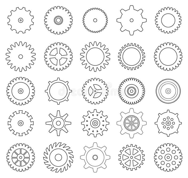 Set przekładni ikony ilustracji