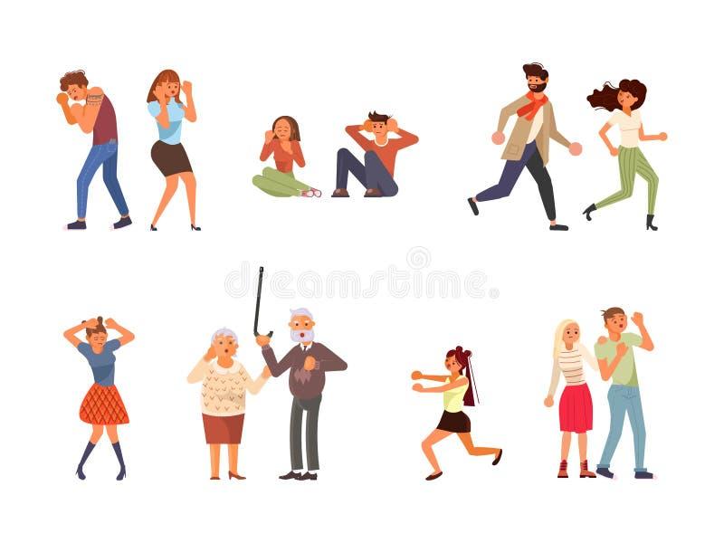Set przelękli ludzie ilustracja wektor