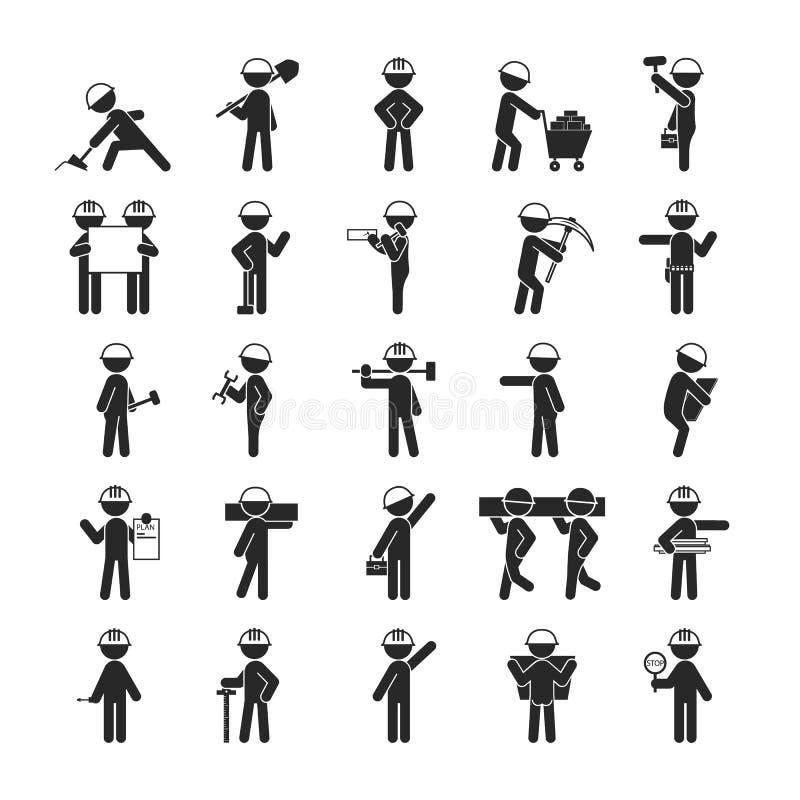 Set Przemysłowi kontrahentów pracowników ludzie, Ludzki piktogram Ja ilustracja wektor