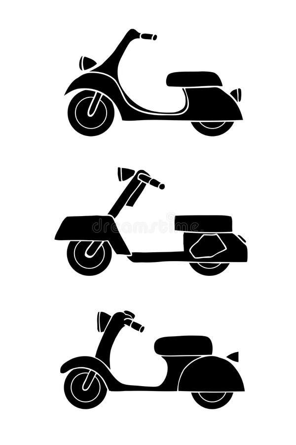 Set przewiezione ikony - hulajnoga i moped royalty ilustracja