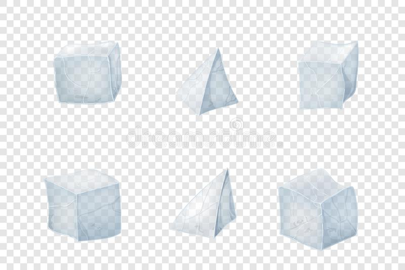 Set przezroczystość kostka lodu ilustracja wektor