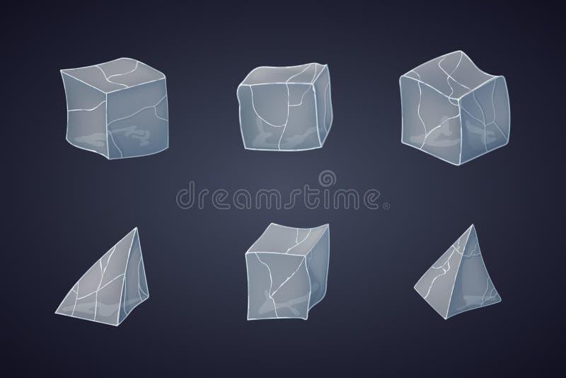 Set przezroczystość ostrosłupy i kostka lodu royalty ilustracja