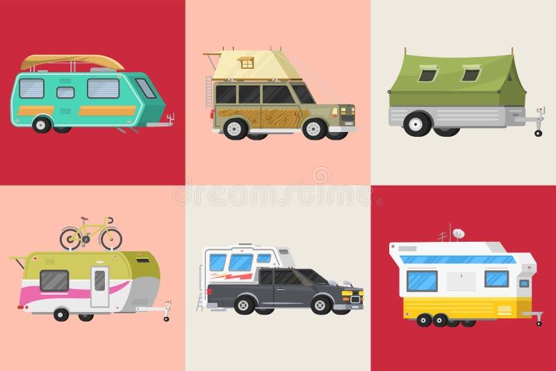 Set przyczepy lub rodzinna RV campingowa karawana Turystyczny autobus i namiot dla plenerowego odtwarzania i podróży Dom na kółka royalty ilustracja