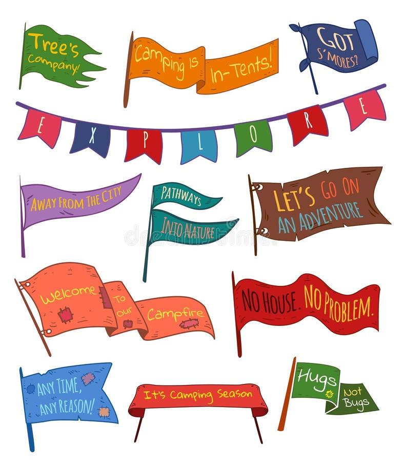 Set przygoda, outdoors, obozuje kolorowe banderki ilustracji