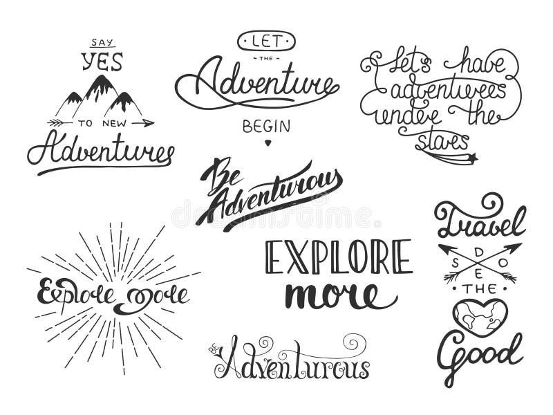 Set przygody i podróży wektorowa ręka rysująca unikalna typografia royalty ilustracja