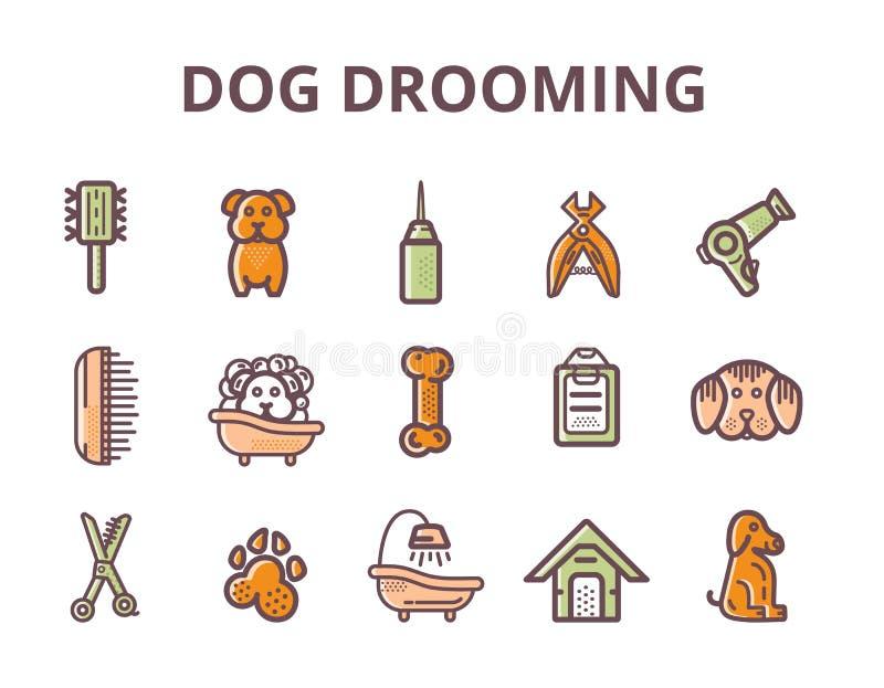 Set przygotowywa Kreskowej sztuki ikony z znakiem pies pies, kość, cążki, grępla Elegancki zwierzęcy wyposażenie dla twój projekt royalty ilustracja