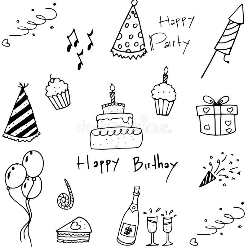 Set przyjęć doodles na białym tle royalty ilustracja