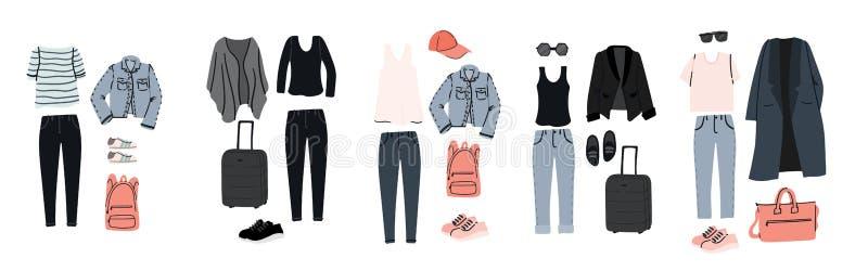 Set przypadkowy styl odziewa dla samolotowej wycieczki Pakować dla wakacje lub podróży ilustracja wektor