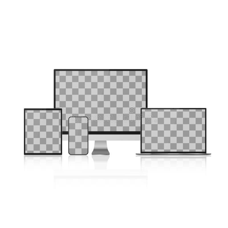 Set przyrządu egzamin próbny W górę Realistyczny komputer, laptop, pastylka i Smartphone z Pustym Przejrzystym ekranem, również z ilustracja wektor