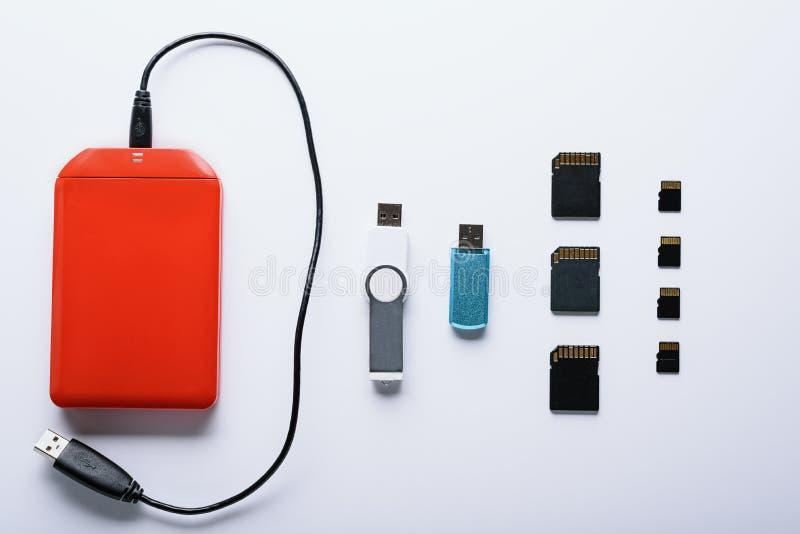 Set przyrząda dla dane magazynu dysk twardy, USB kij i SD mikro kij, zdjęcie royalty free
