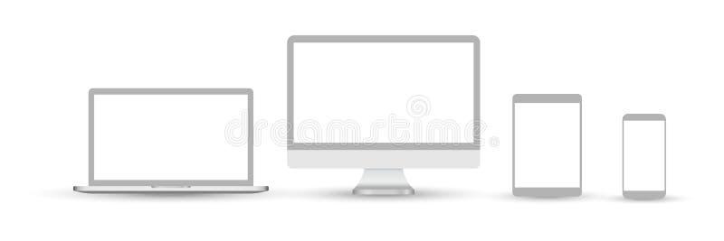 Set przyrz?d ikony Set przyrz?d ikony przyrz?da odizolowywaj?cy na bia?ym tle Ikony: ekran komputerowy, laptop, pastylka komputer royalty ilustracja