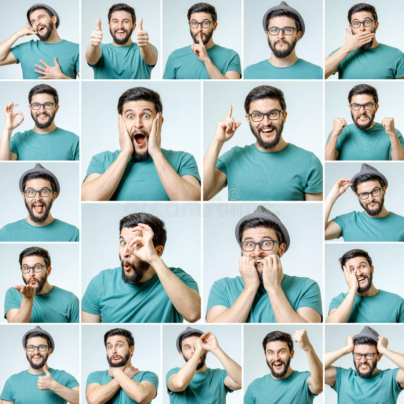 Set przystojny emocjonalny mężczyzna zdjęcie stock