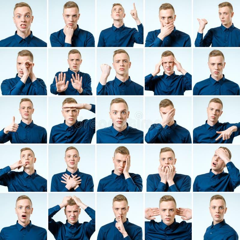 Set przystojny emocjonalny mężczyzna odizolowywający fotografia royalty free