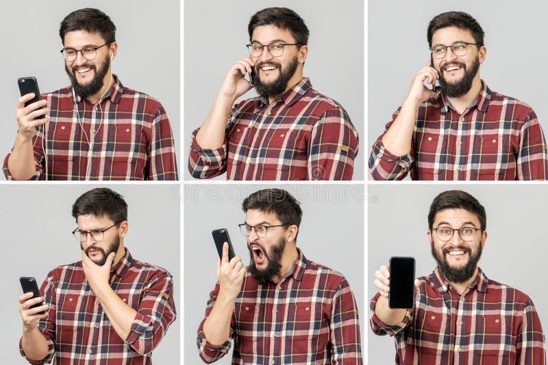 Set przystojny emocjonalny mężczyzna używa telefon komórkowego zdjęcia royalty free