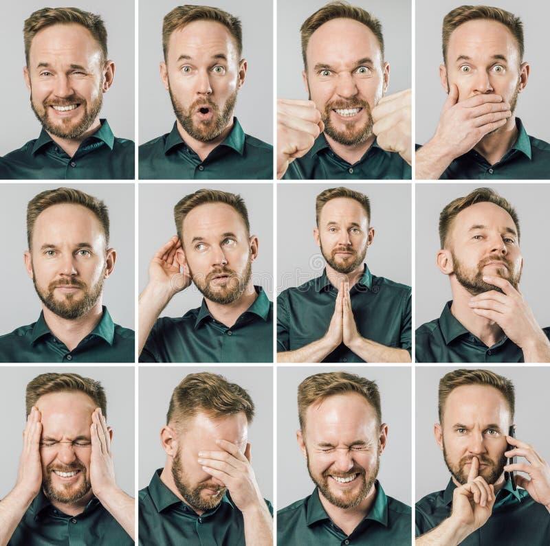 Set przystojny mężczyzna z różnymi emocjami i gestami zdjęcia royalty free