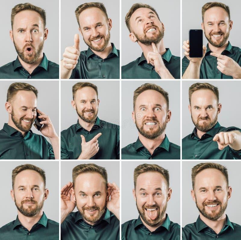 Set przystojny mężczyzna z różnymi emocjami i gestami fotografia royalty free