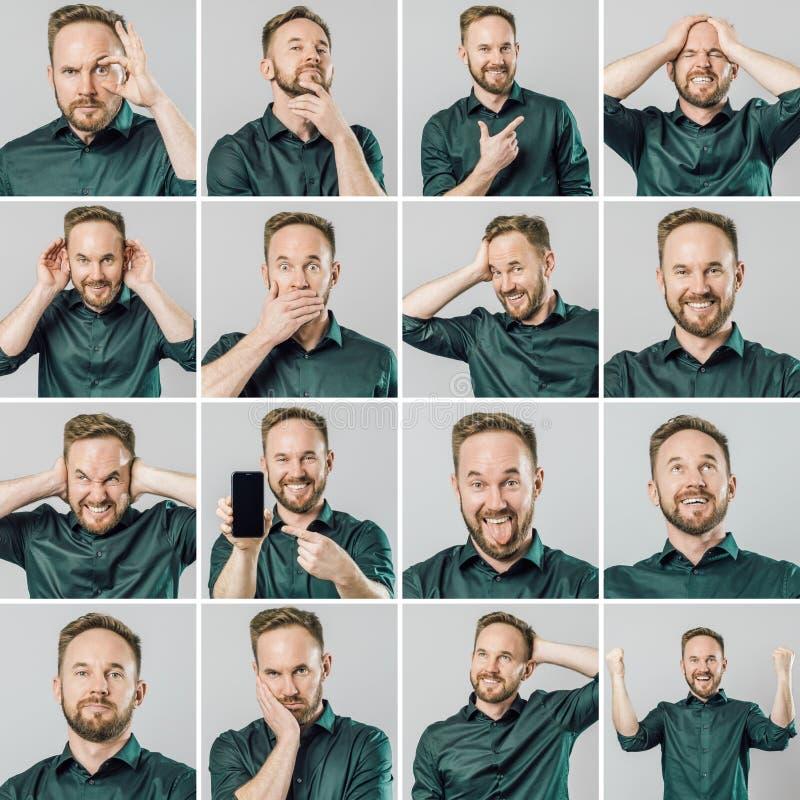 Set przystojny mężczyzna z różnymi emocjami i gestami obraz royalty free