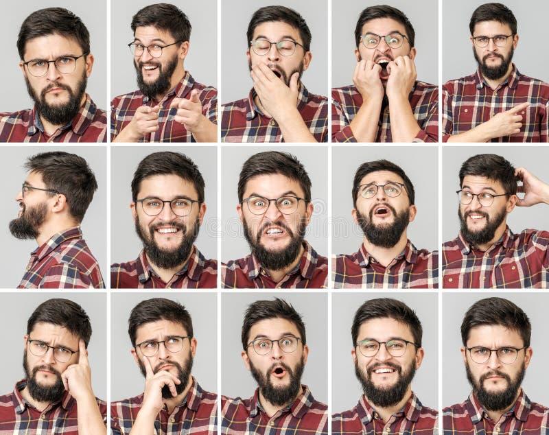Set przystojny mężczyzna z różnymi emocjami i gestami zdjęcia stock