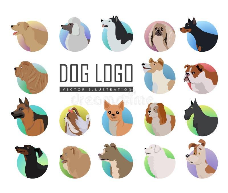 Set Psi Wektorowi logowie w mieszkanie stylu projekcie royalty ilustracja