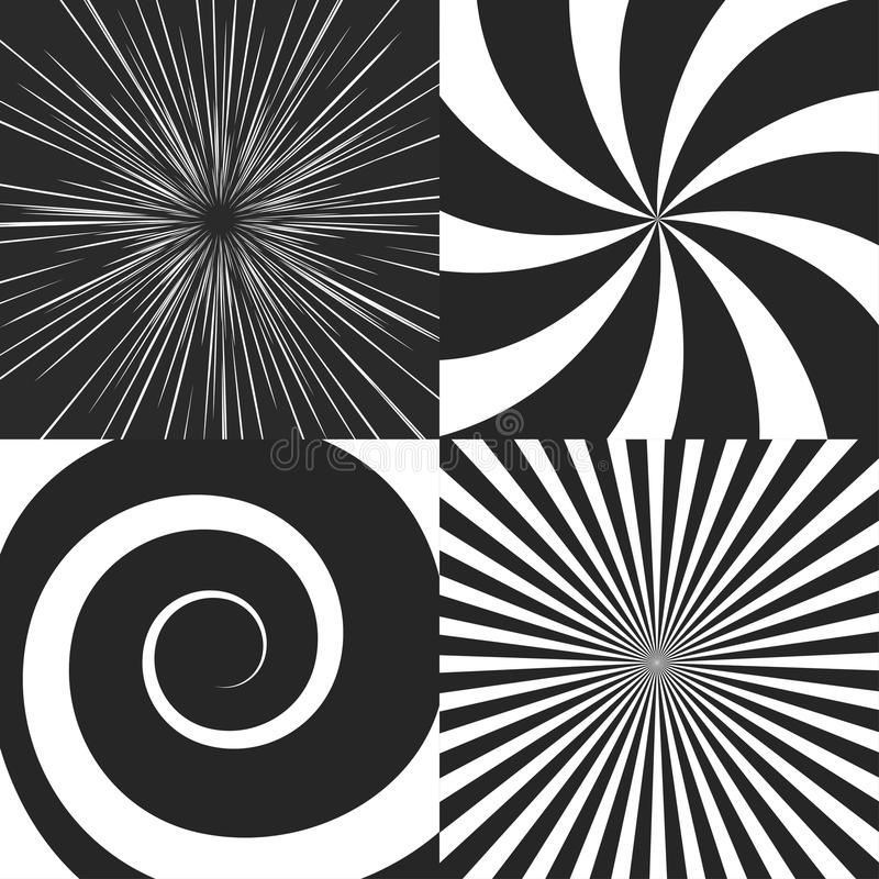 Set of psychedelic spiral. With radial rays, swirl, twisted cosmics effect, vortex backgrounds vector royalty free illustration