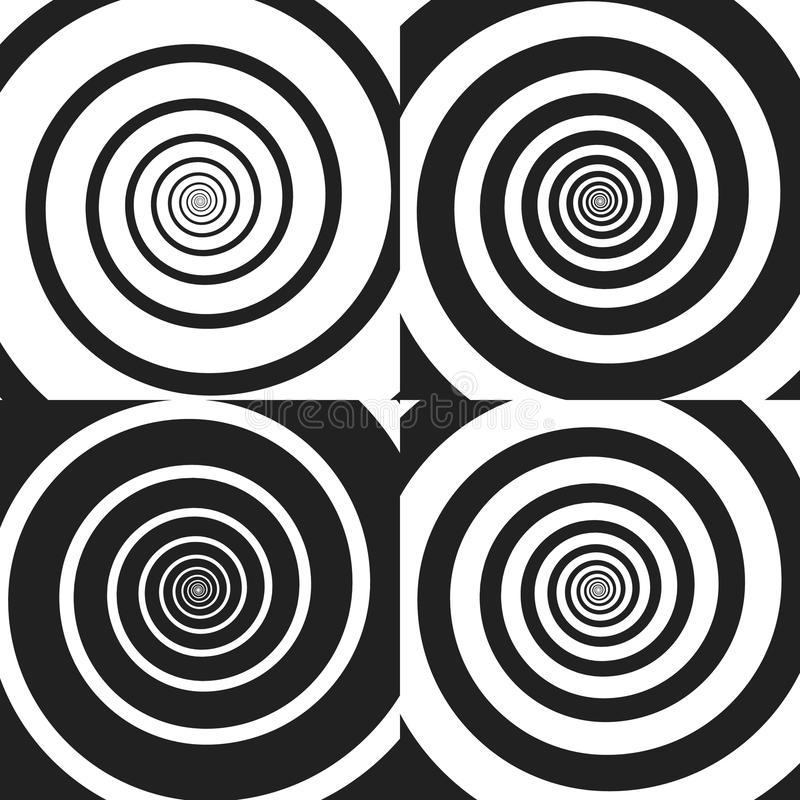 Set of Psychedelic spiral with radial rays, twirl, twisted comic effect, vortex backgrounds. Vector illustration. Design vector illustration