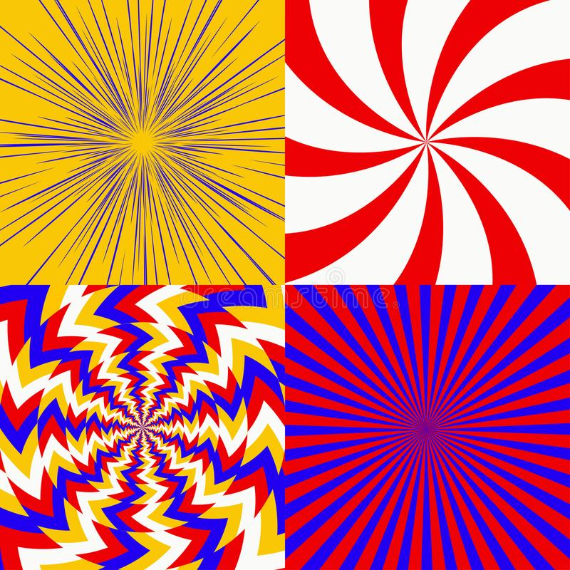 Set of psychedelic spiral. With radial rays, optical spin, twisted cosmics effect, vortex backgrounds vector stock illustration