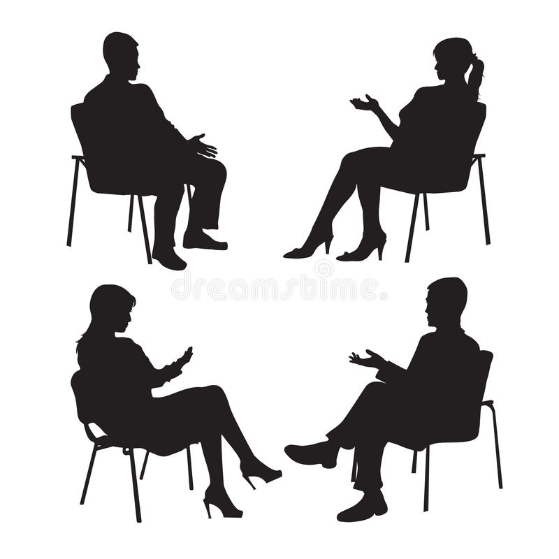 Set of psychologist and the client. Psychotherapy. Psycho therapeutic session. Psychological counseling. Man woman. Talking while sitting. Silhouette.Black stock illustration