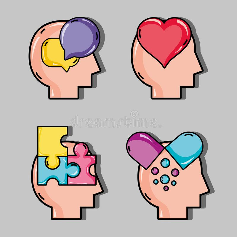 Set psychology problem and therapy treatment. Vector illustration vector illustration