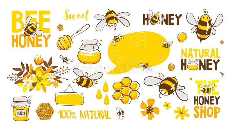 Set pszczoła, miód, literowanie i inna beekeeping ilustracja, eps10 kwiat royalty ilustracja