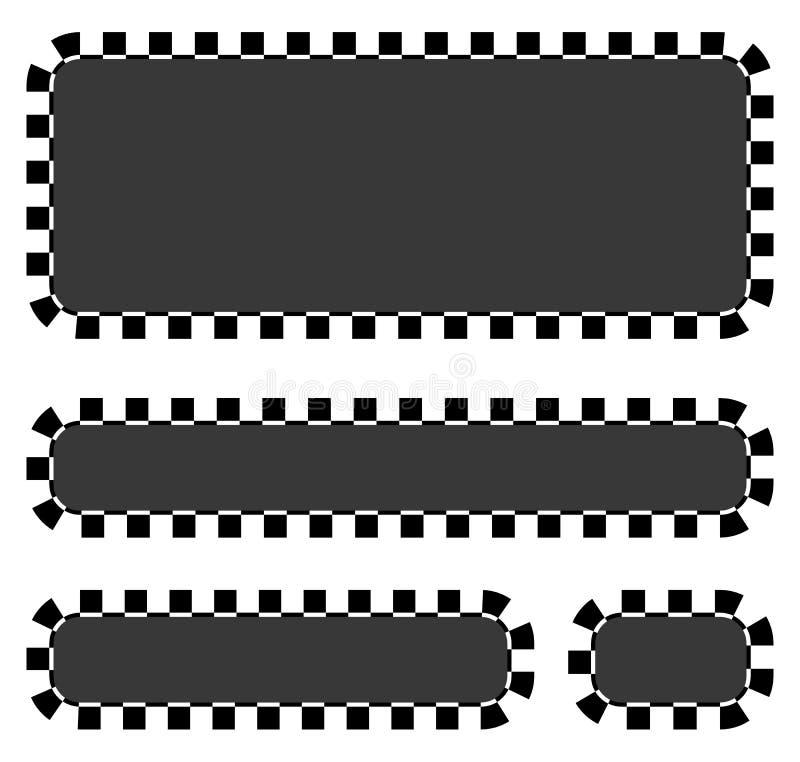Set puści sztandary, plakiety z w kratkę granicami dla ścigać się, royalty ilustracja