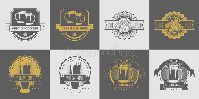 Set pub, browar, rzemiosła piwo, etykietki, logowie, odznaka i inny, brewhouse i piwa, projektujemy Szary i złocisty wektor royalty ilustracja