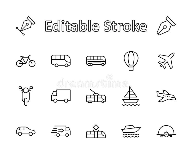 Set of Public Transport Related Vector Line Icons. Contains such Icons as Bus, Bike, Scooter, Car, balloon, Truck, Tram vector illustration