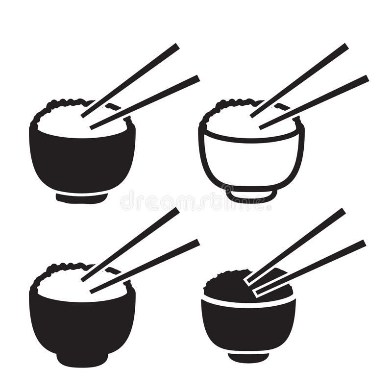 Set puchar ryż z parą chopsticks ikona royalty ilustracja