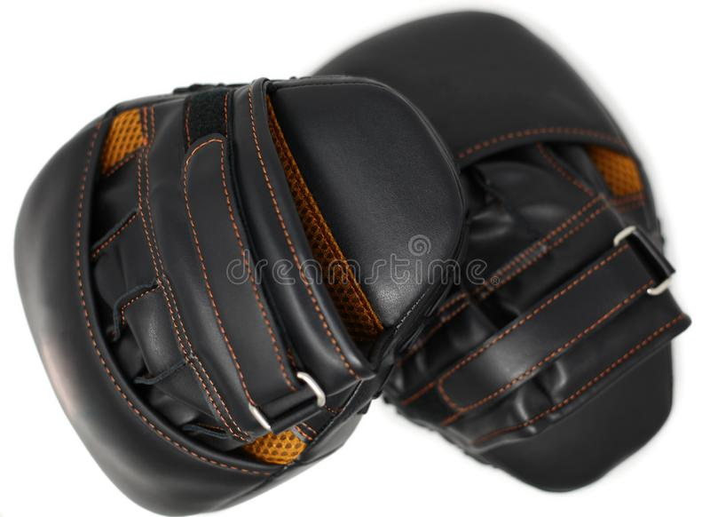 Set of punching mitts sports equipment over white stock photos