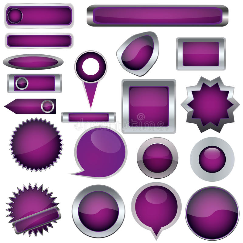 Download Set of purple buttons stock vector. Image of background - 26636952