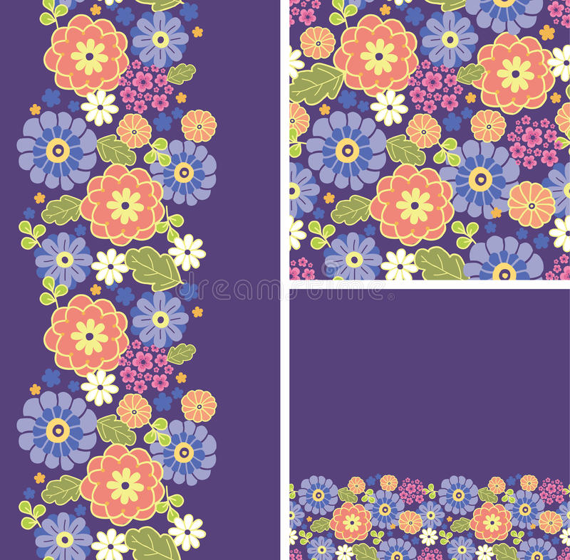 Download Set Of Purple Flowers Seamless Pattern And Borders Stock Vector - Image: 30477166