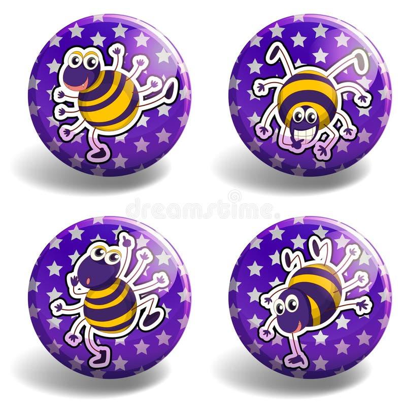 Set purpurowe odznaki z pluskwami ilustracji