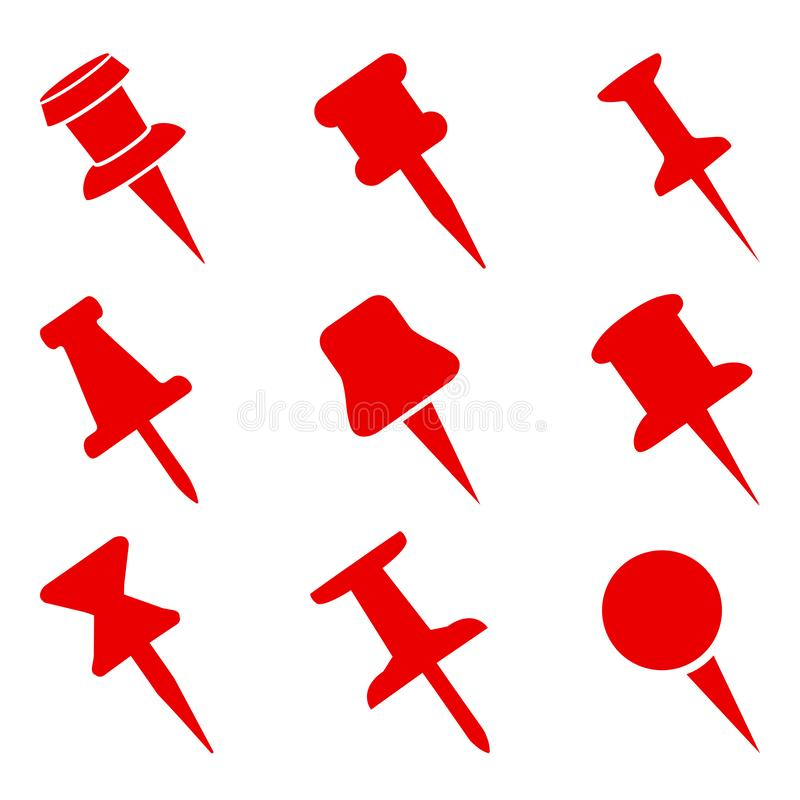 Set push pin sign icons for web site, page and mobile app design element. Push pins pinned in different angles. – vector stock illustration