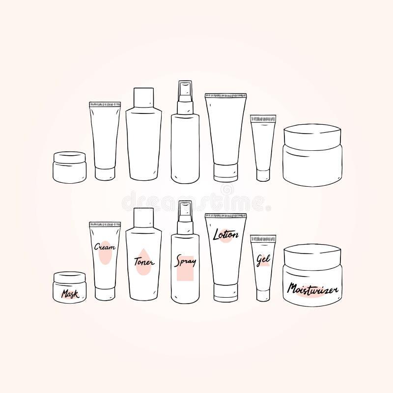 Set pusta ręka rysująca szablon skóry opieki wektorowa ilustracja z śmietanką, płukanka, gel, toner, kiść, maska, moisturizer Pak royalty ilustracja